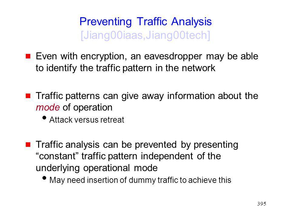 Preventing Traffic Analysis [Jiang00iaas,Jiang00tech]